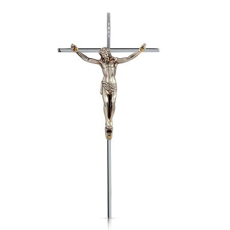 Crucifix - Solid Brass-Antique Silver Polished Cross