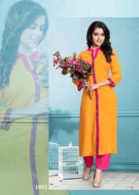 Orange Reyon Woman'S Kurta'S