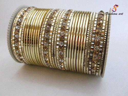 One 20 Stone Studded 6 Sets Metal Bangle Set