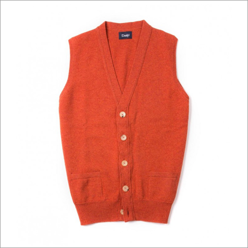 Drake s Orange Lambswool Sleeveless Cardigan