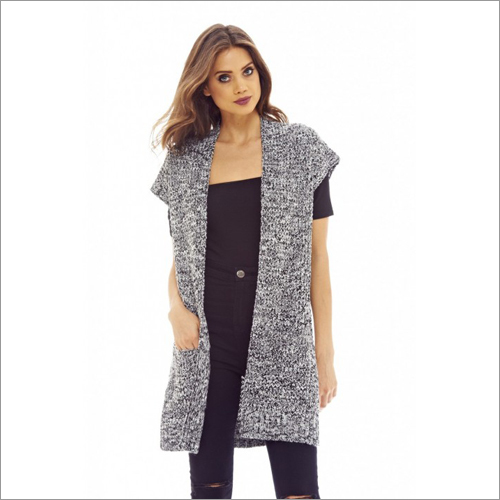 short sleeve cardigan long line grey knit