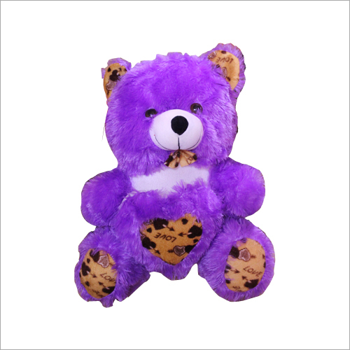 Printed Heart Purple Teddy Bear