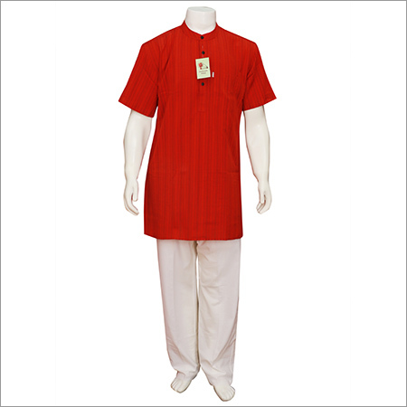 Men's Half Sleeve Long Red Kurta