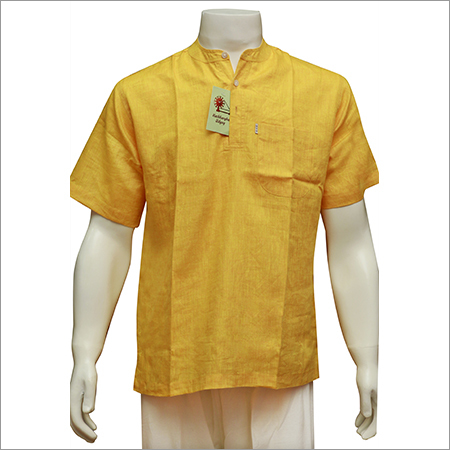 Men's Half Sleeve Short Yellow Kurta