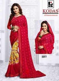 Red Weightless Printed Saree