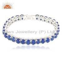 Fine Silver Blue Aventurine Gemstone Bracelet