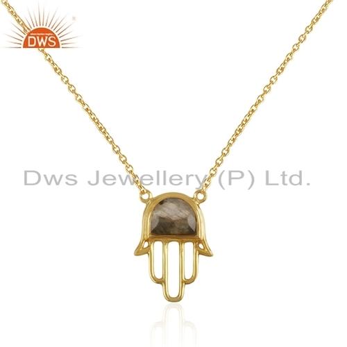 Labradorite Gold Hamsa Charm Pendant