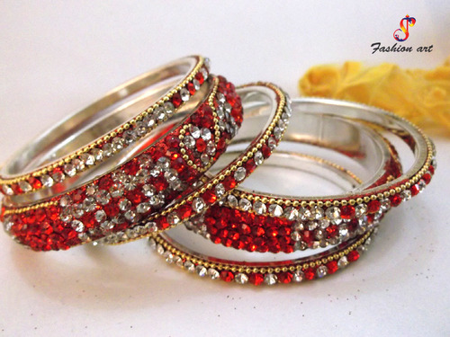 Sultan set Brass Stone Studded Bangle Set