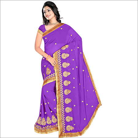 Ladies Light Purple Georgette Saree