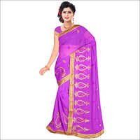 Ladies Violet Color Georgette Saree
