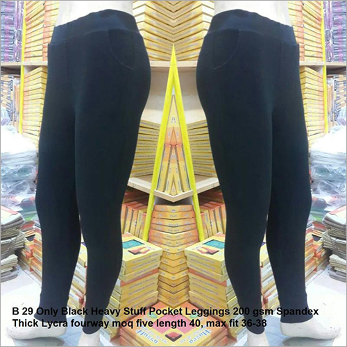 Black Heavy Stuff Pocket Leggings