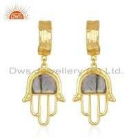 Labradorite Gemstone Silver Gold Plated Hamsa Hand Earrings Jewelry