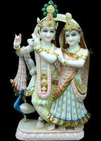 Marble Krishna Radha Sculpture