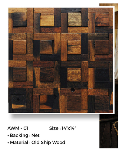 Ancient Wood Mosaics Wall Tiles