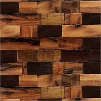 Wooden Rectangular Grids Mosaic Tiles