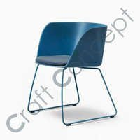 Blue Metal & Leather Chair