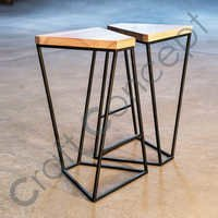 SET OF 2 WOODEN/ METAL STOOL
