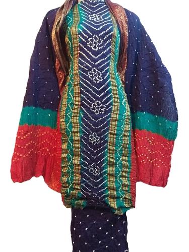 Bandhani Dress  Jari Work Material