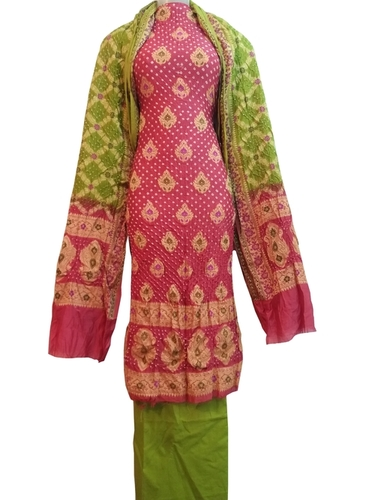 Pink  Green Bandhani Dress