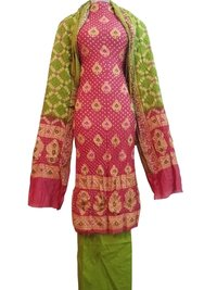 Pink and Green Bandhej Dress Material