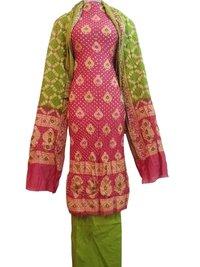 Pink and Green Bandhej Dress Material
