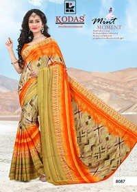 Orange Crepe Silk Fancy Saree