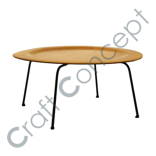 ROUND WOOD & METAL COFFEE TABLE
