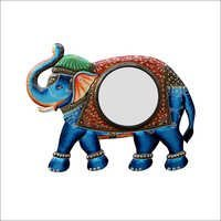 Elephant Shape Multi-Color Designer Round Wall Mirror