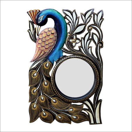 Peacock Shape Multi-Color Frame Designer Round Wall Mirror