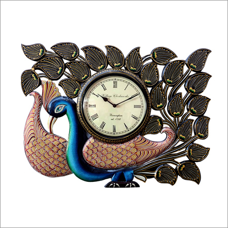 Vintage Clock Handicraft Peacock Blue Wall Clock