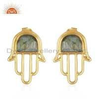 Natural Labradorite Gemstone Gold Plated Hamsa Hand Stud Earrings Jewelry