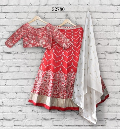 Red Color heavy Worked Blouse Lehenga Choli