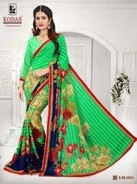 green flower print saree