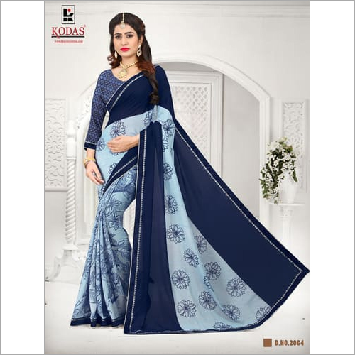 blue slety printed saree