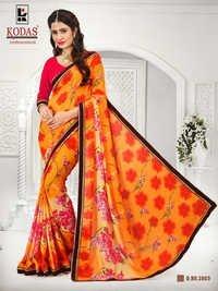 orange flower printed saree