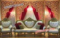 Golden Fiber Carved Backdrop Panel Stage