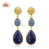 Natural Gemstone Designer Silver Dangle Earrings Jewelry