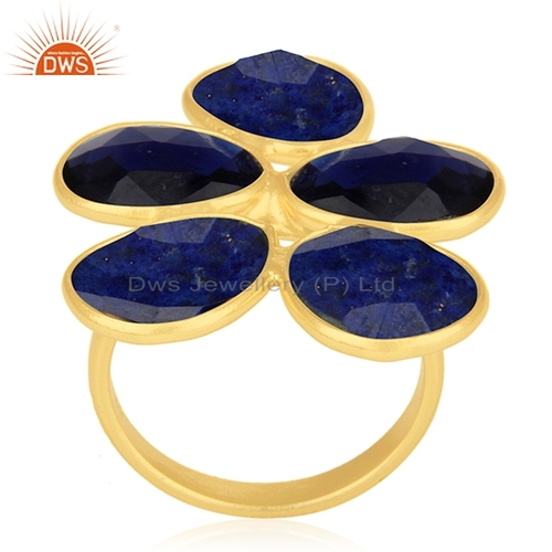 Blue Corundum Lapis Gemstone Ring