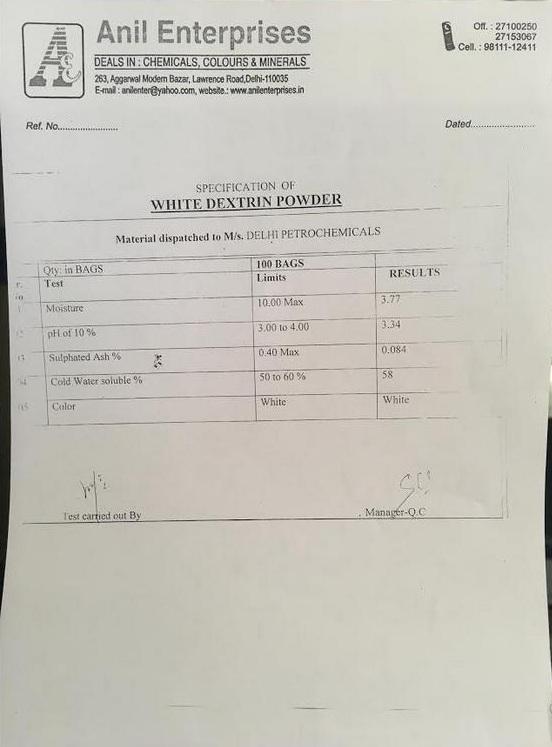 White Dextrine Powder