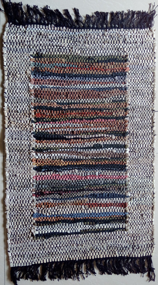 Cotton and Leather Chindi Rug