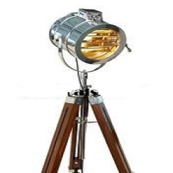 Studio Nautical Chrome Searchlight Floor Lamp - Tripod Wooden
