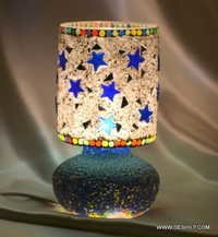 Table Lamp Vase Shape Red Purple Teal Black Pattern Design