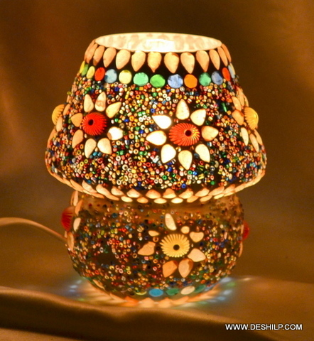 Style Table Lamp Ayden Amber Art Glass Table Lamp