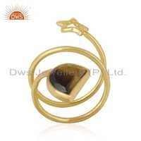 Gemstone Gold Plated Twisted Charm Ring