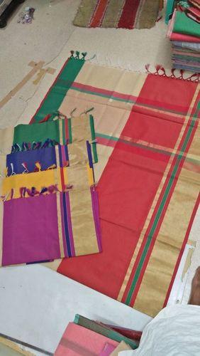Banarasi Cotton  Silk Weawing Mulit Border Designer Saree