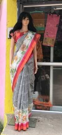 Banarasi Cotton Silk Weawing Jaaldar & Printed Saree