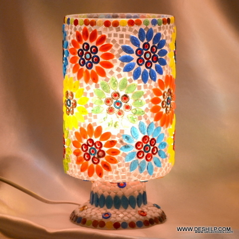 Table Lamp Elin Blue Fluted Art Glass Table Lamp Amber Flower Accent Table Lamp