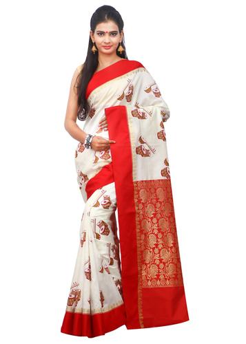 Satan Patta Weawing & Printed Saree