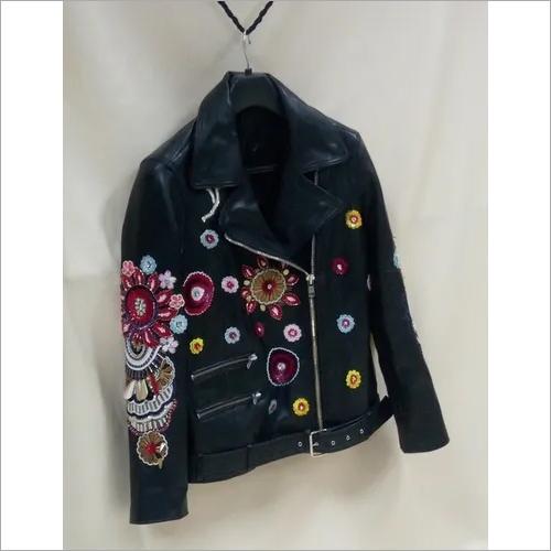 Designer Leather Hand Embroidered Jacket