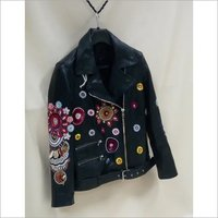 Designer Leather Hand Embroidered Jacket